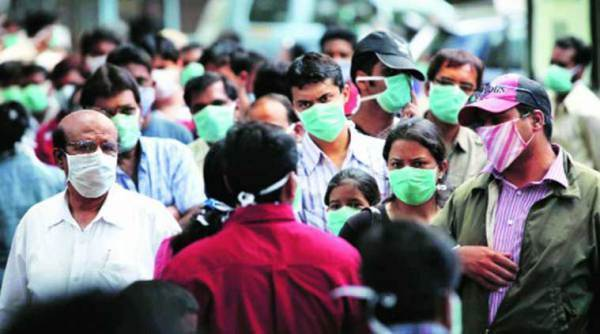 crowds with masks