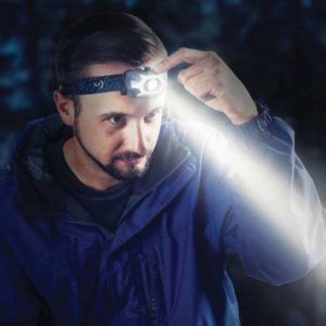 man with headlamp