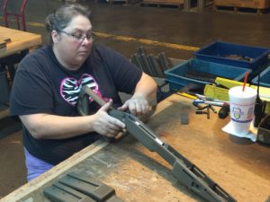 Melinda perfects the Choate rifle stock