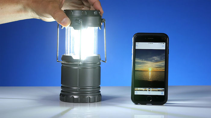 lantern and cell phone